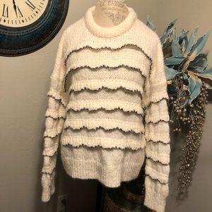 Zara off white oversized ruffle detail sweater